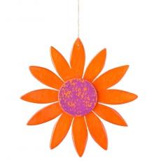Holzblume Frühlingknaller orange / lila 15cm