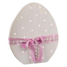 Stand Ei, mit Schleifenband verziert grau/rose